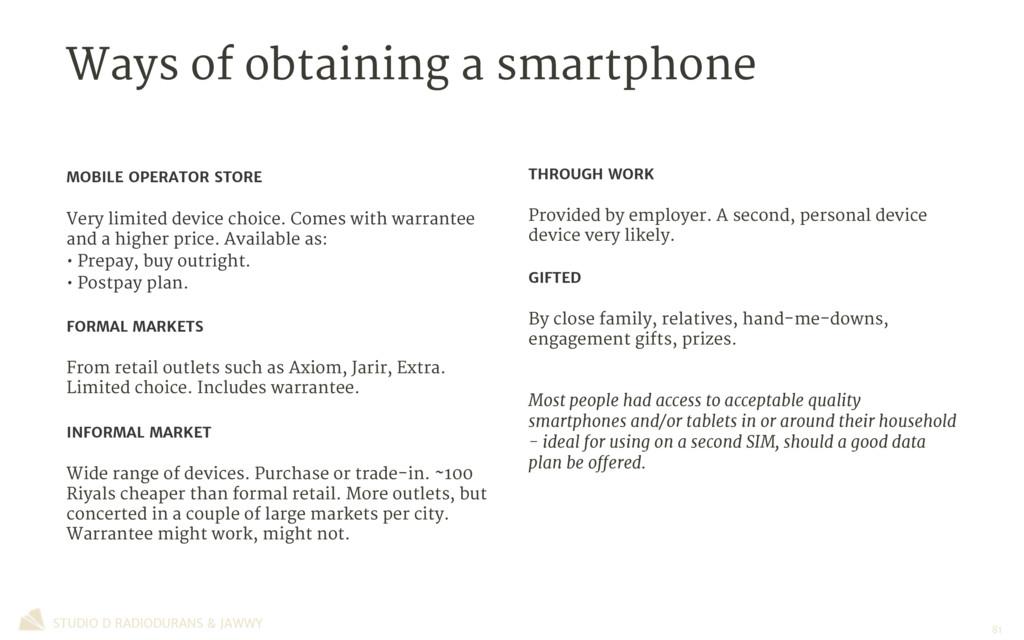 Ways of obtaining a smartphone STUDIO D RADIODU...