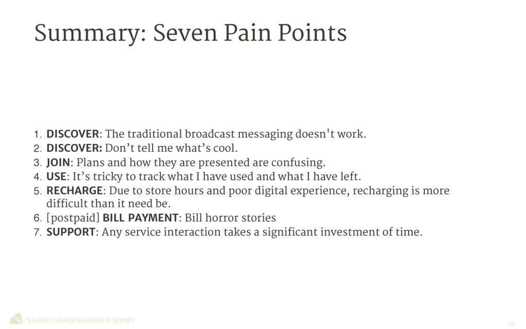 Summary: Seven Pain Points 1. DISCOVER: The tra...