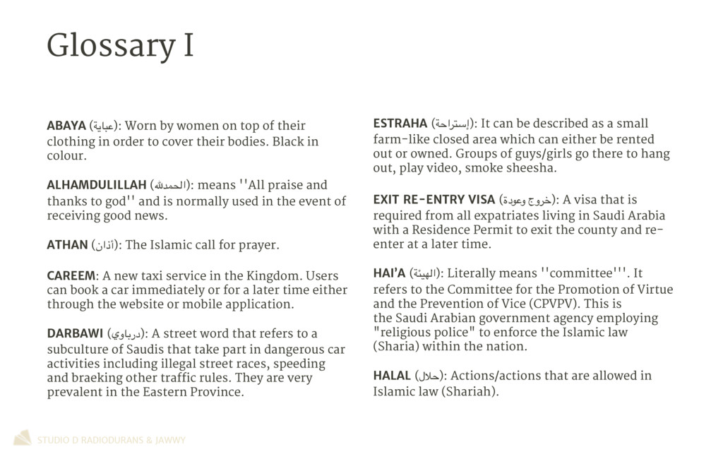 Glossary I STUDIO D RADIODURANS & JAWWY ESTRAHA...
