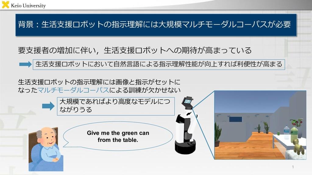 背景:生活支援ロボットの指示理解には大規模マルチモーダルコーパスが必要 1 生活支援ロボットに...