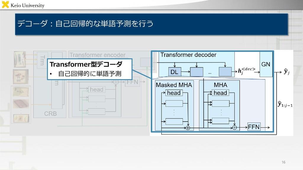 デコーダ:自己回帰的な単語予測を行う 16 Transformer型デコーダ • 自己回帰的に...