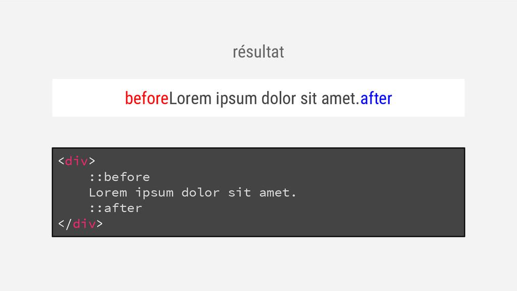 résultat beforeLorem ipsum dolor sit amet.after...