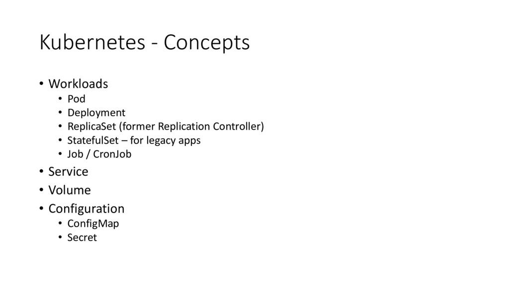 Kubernetes - Concepts • Workloads • Pod • Deplo...