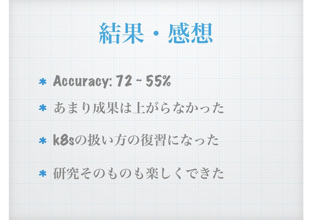 ݁Ռɾײ Accuracy: 72 ~ 55% ͋·ΓՌ্͕Βͳ͔ͬͨ k8sͷѻ͍ํͷ...