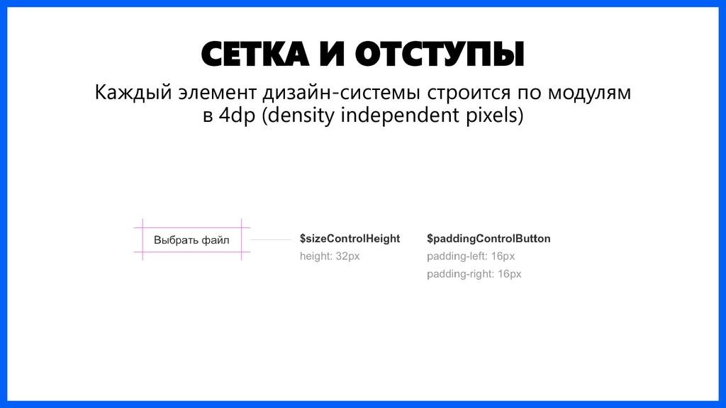 СЕТКА И ОТСТУПЫ Каждый элемент дизайн-системы с...