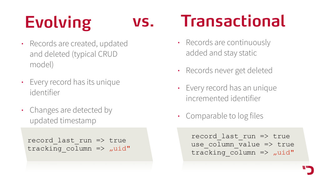 Transactional • Records are continuously added ...