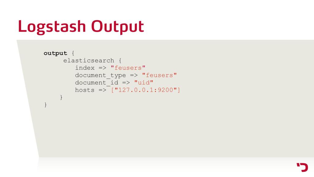 Logstash Output output { elasticsearch { index ...
