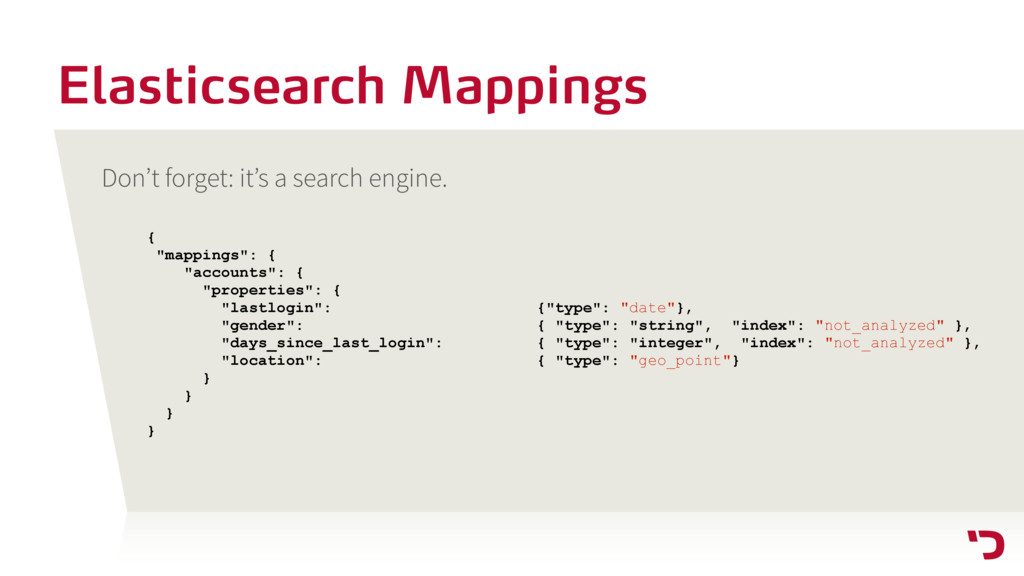 """Elasticsearch Mappings { """"mappings"""": { """"account..."""