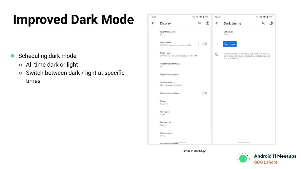 GDG Lahore ● Scheduling dark mode ○ All time da...