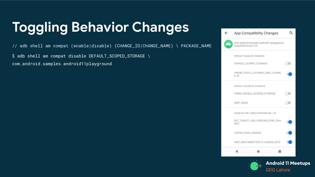 GDG Lahore Toggling Behavior Changes // adb she...