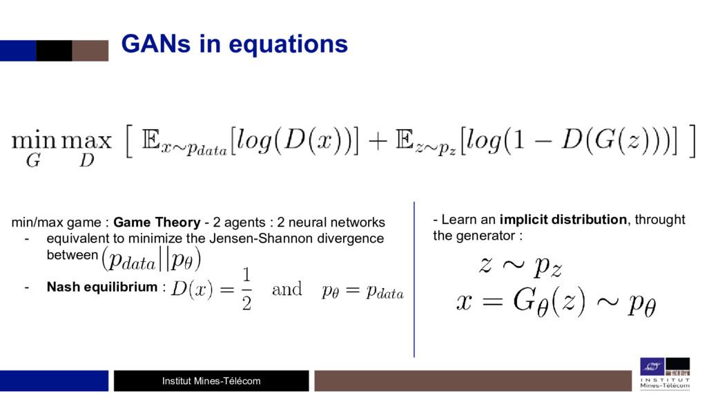 Institut Mines-Télécom GANs in equations min/ma...