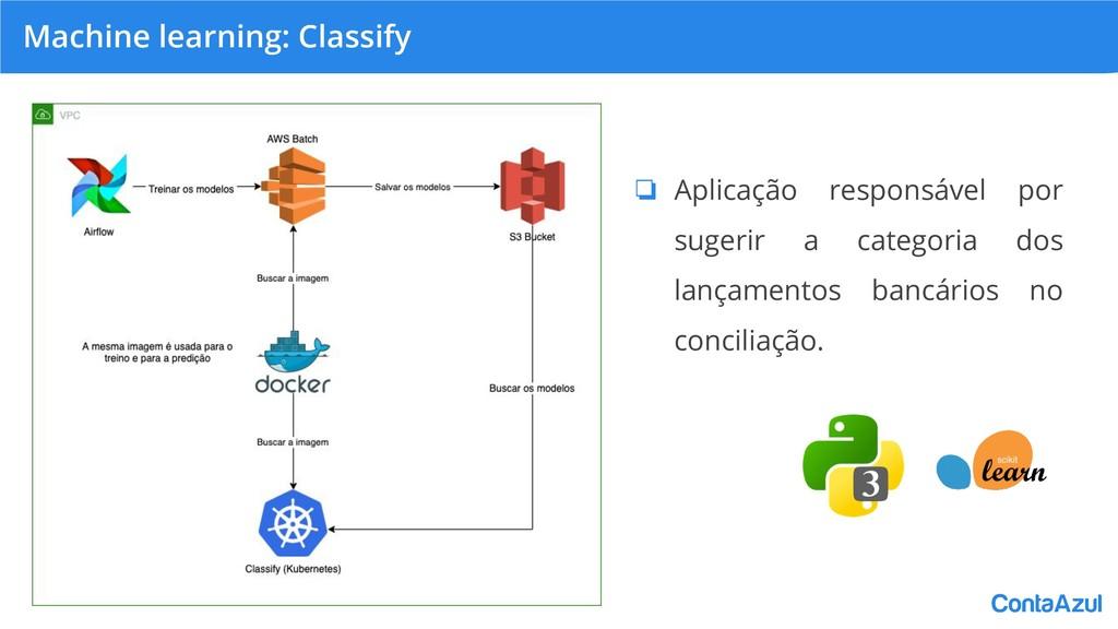 Machine learning: Classify ❏ Aplicação responsá...