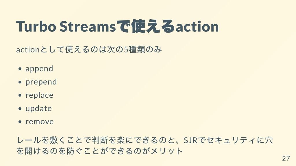 Turbo Streams で使える action action として使えるのは次の5 種類...