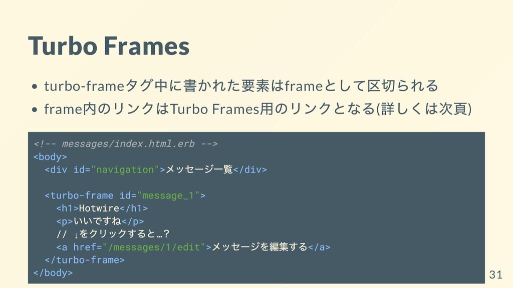 Turbo Frames turbo-frame タグ中に書かれた要素はframe として区切...