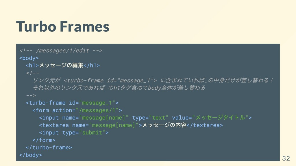 Turbo Frames <!-- /messages/1/edit --> <body> <...