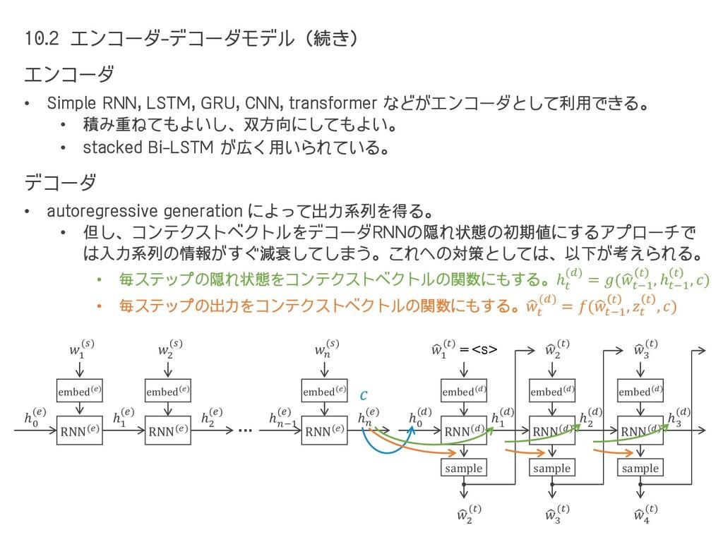 10.2 エンコーダ-デコーダモデル(続き) エンコーダ • Simple RNN, LSTM...