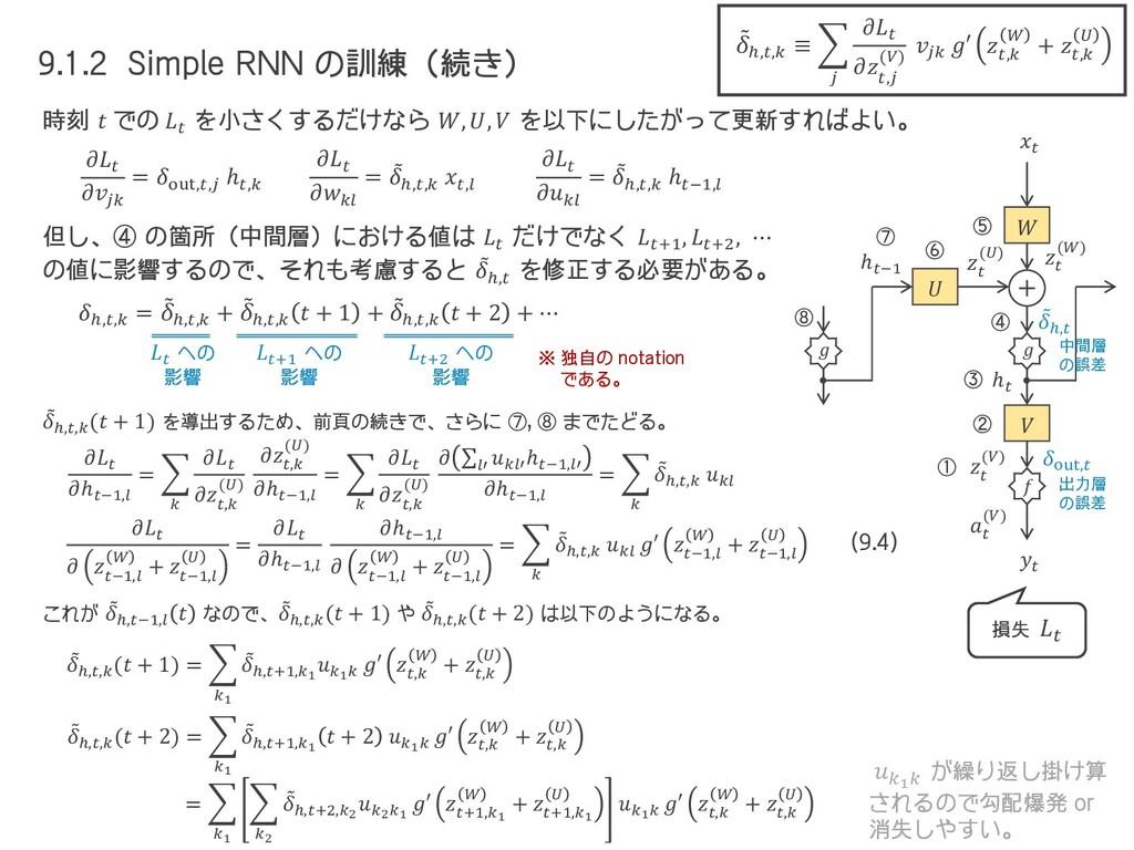9.1.2 Simple RNN の訓練(続き) 時刻  での  を小さくするだけなら , ,...