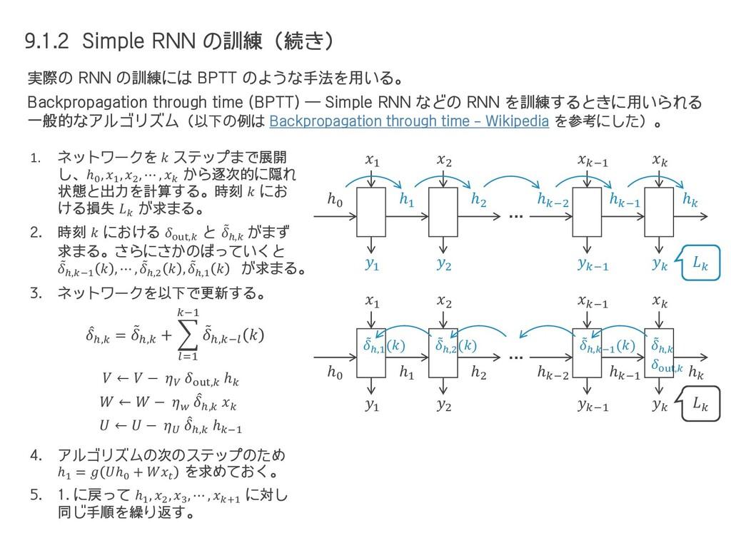9.1.2 Simple RNN の訓練(続き) 実際の RNN の訓練には BPTT のよう...