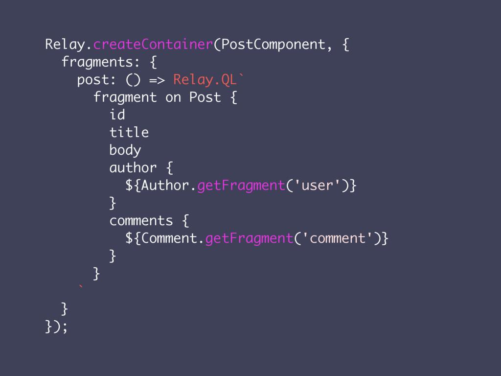 Relay.createContainer(PostComponent, { fragment...
