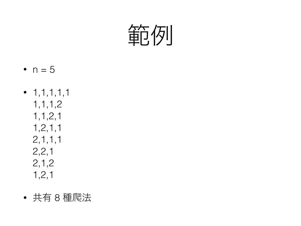 ൣྫ • n = 5 • 1,1,1,1,1 1,1,1,2 1,1,2,1 1,2,1...