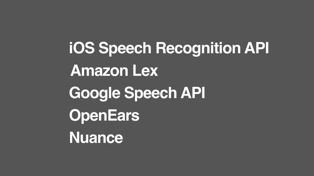 iOS Speech Recognition API Amazon Lex Google Sp...