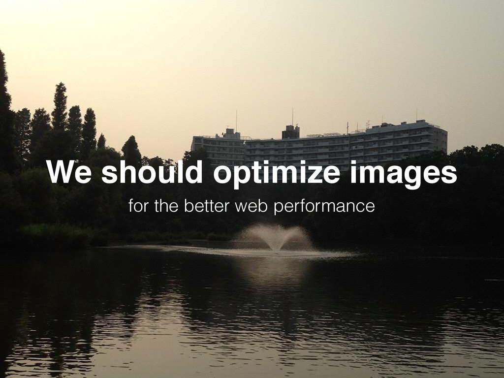 We should optimize images for the better web pe...