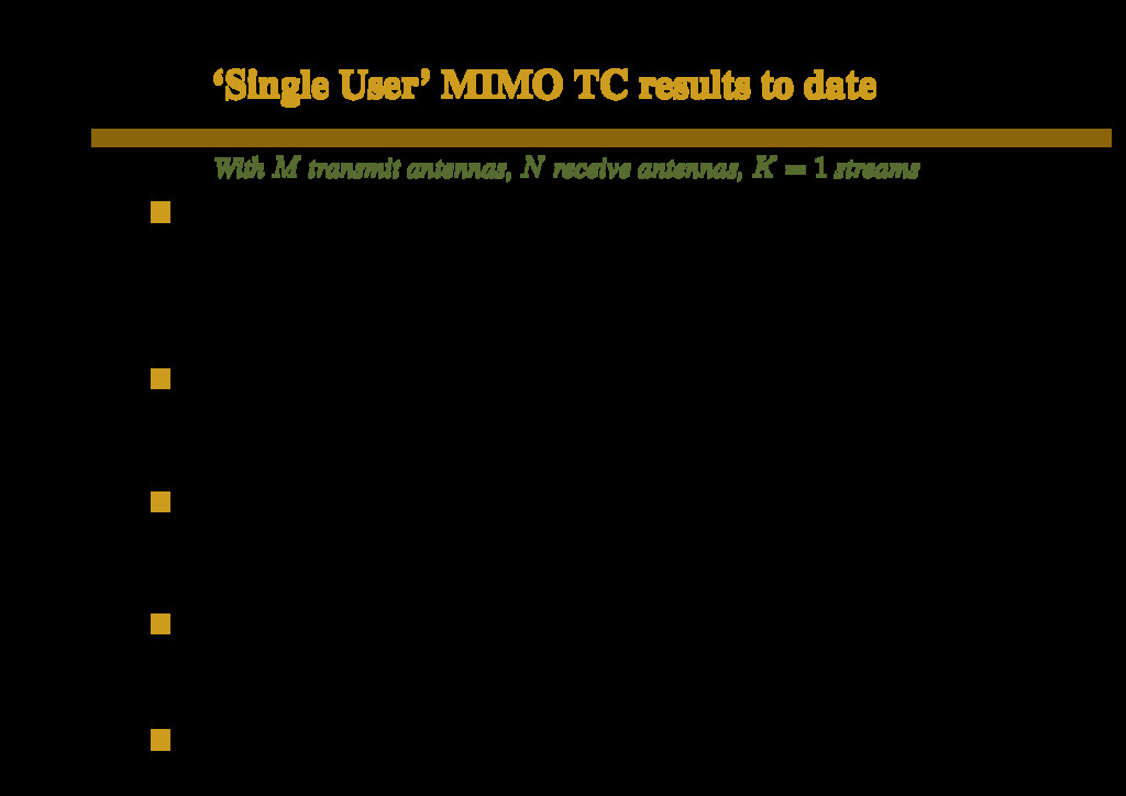 'Single User' MIMO TC results to date With M tr...