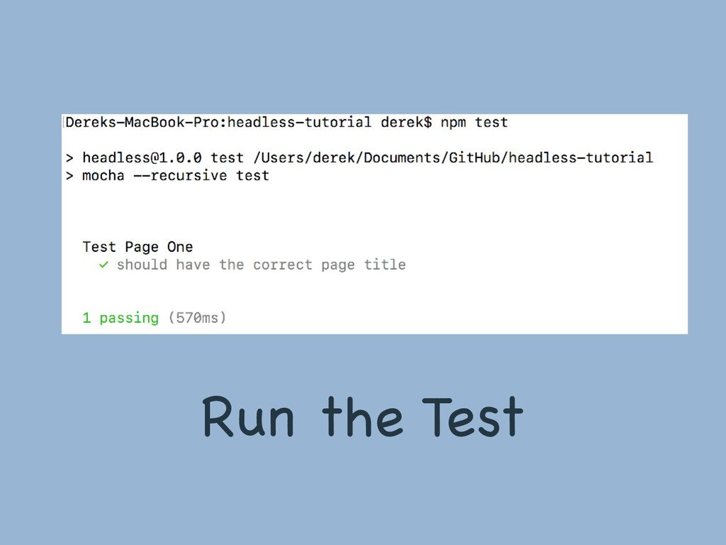 Run the Test