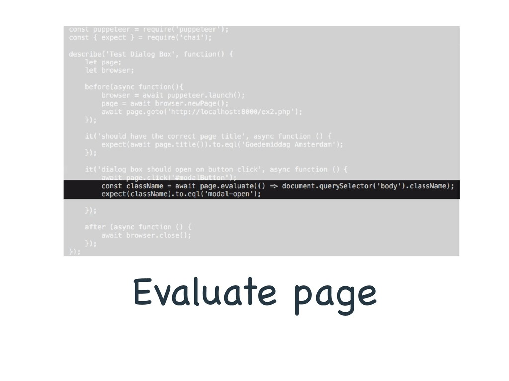Evaluate page
