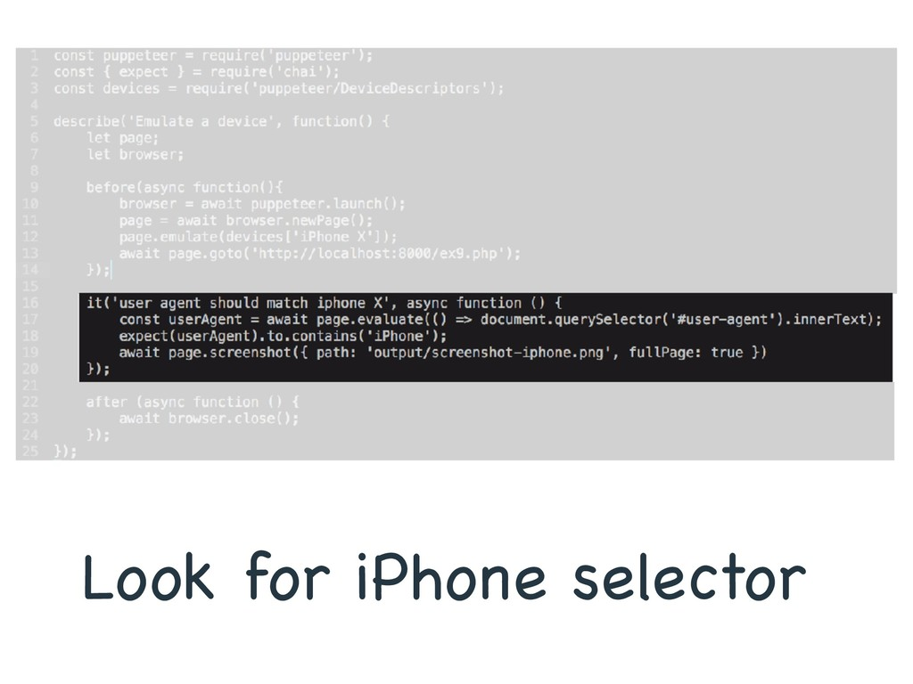 Look for iPhone selector