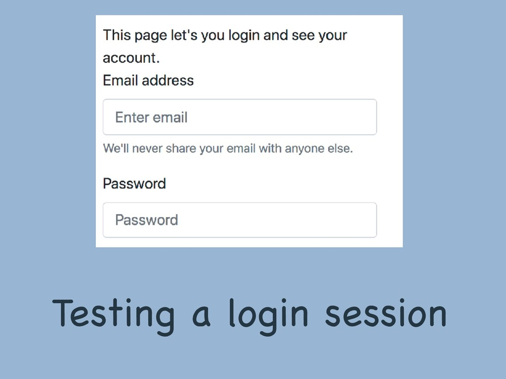 Testing a login session