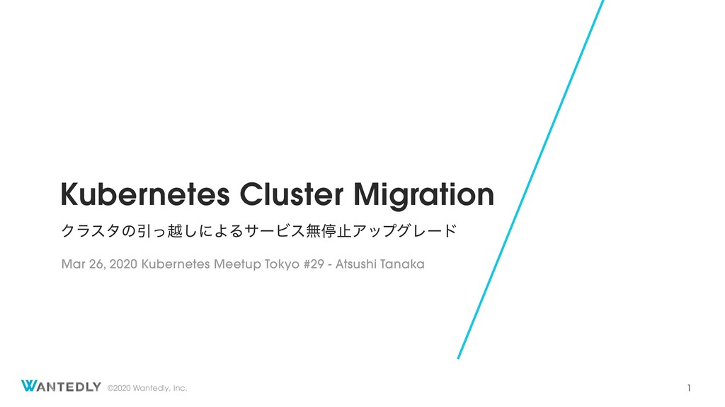 ©2020 Wantedly, Inc. Kubernetes Cluster Migrati...