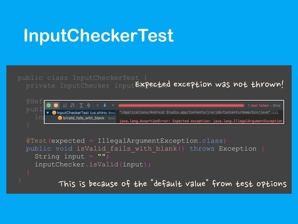 InputCheckerTest public class InputCheckerTest ...