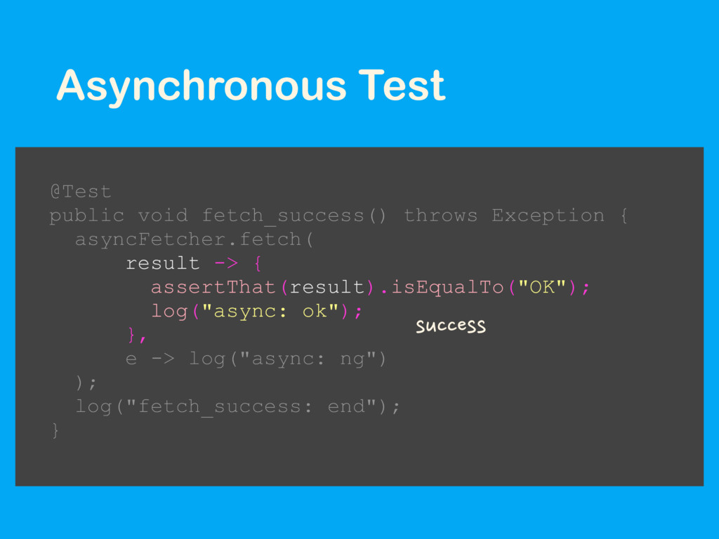 Asynchronous Test @Test public void fetch_succe...