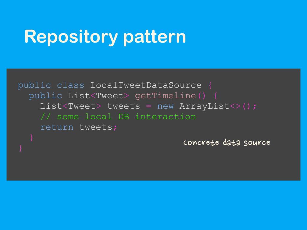 Repository pattern public class LocalTweetDataS...