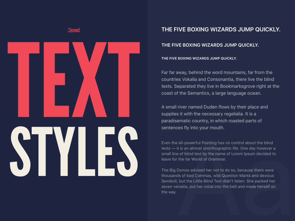Second TEXT STYLES