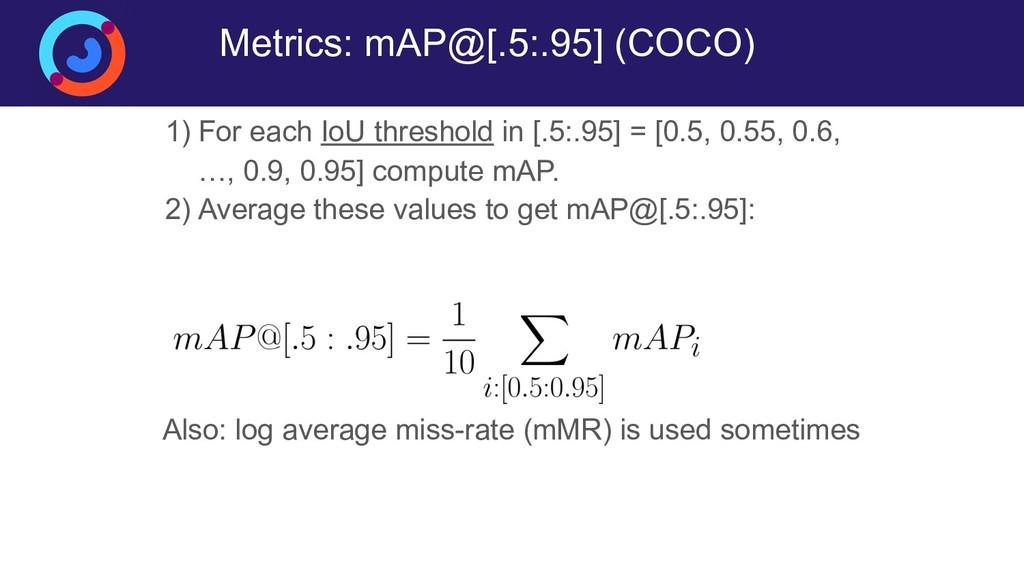 Metrics: mAP@[.5:.95] (COCO) 1) For each IoU th...