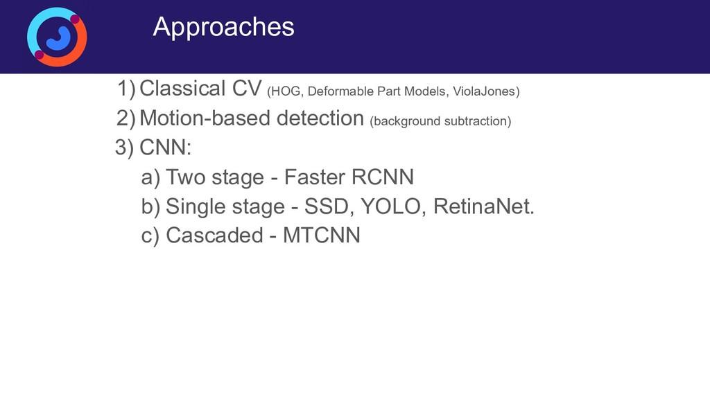 Approaches 1) Classical CV (HOG, Deformable Par...