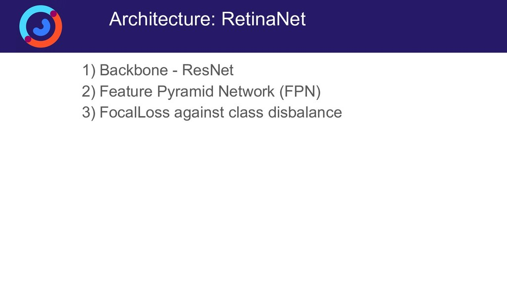 Architecture: RetinaNet 1) Backbone - ResNet 2)...