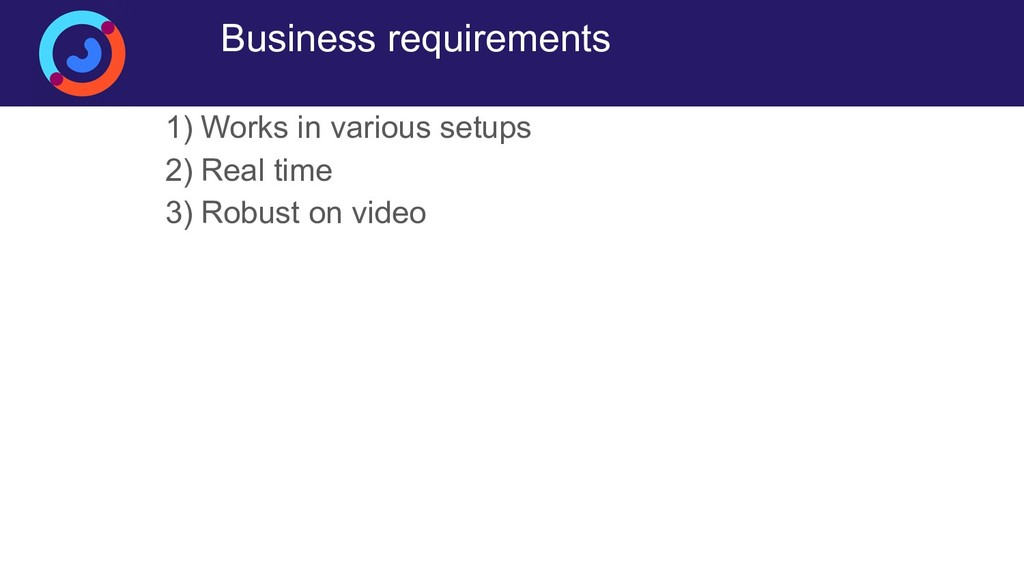 Business requirements 1) Works in various setup...
