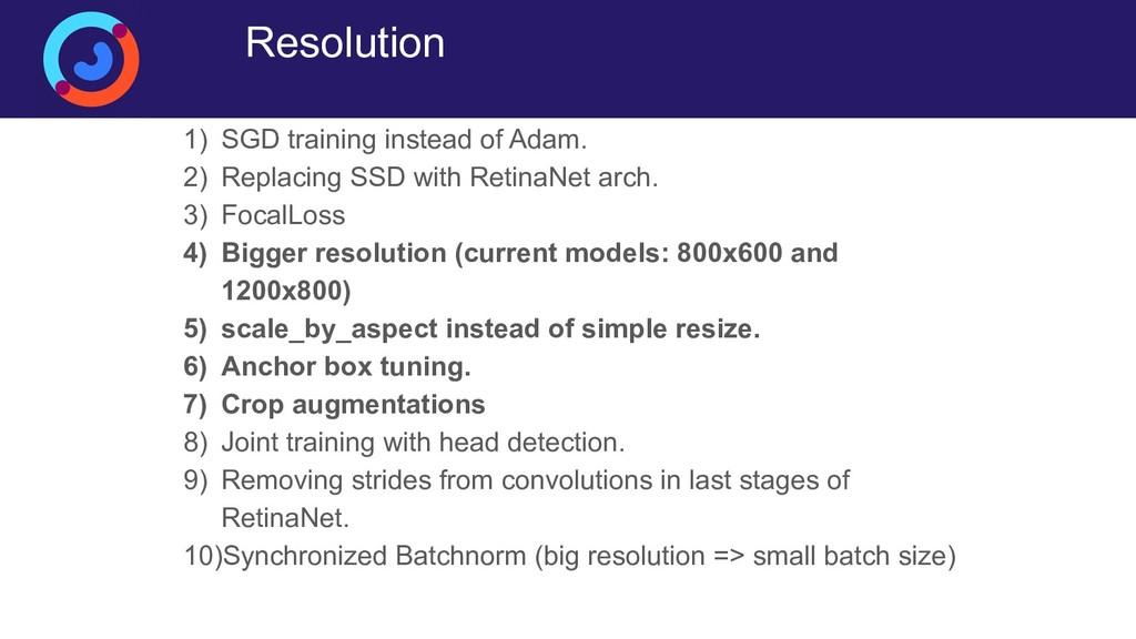 Resolution 1) SGD training instead of Adam. 2) ...
