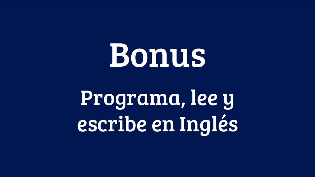 Programa, lee y escribe en Inglés Bonus