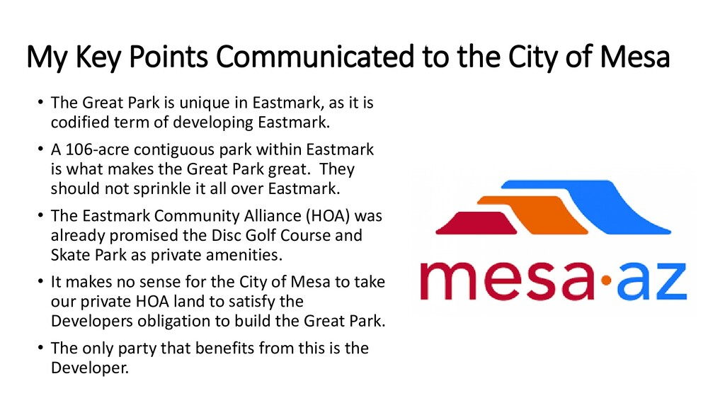 My Key Points Communicated to the City of Mesa ...