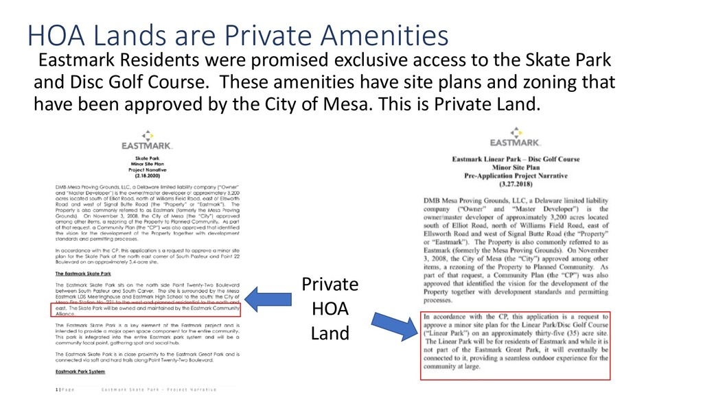 HOA Lands are Private Amenities Eastmark Reside...
