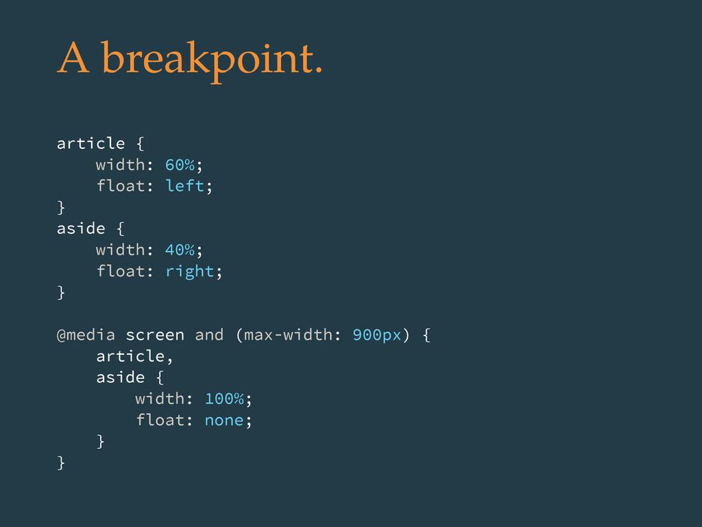 A breakpoint. article { width: 60%; float: left...