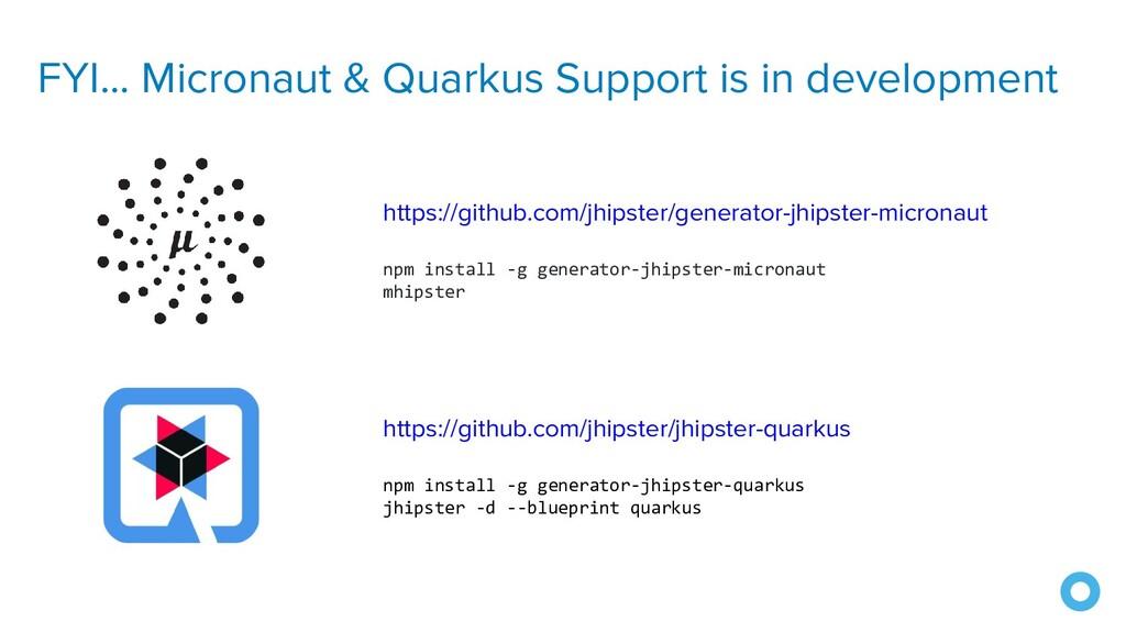 FYI... Micronaut & Quarkus Support is in develo...