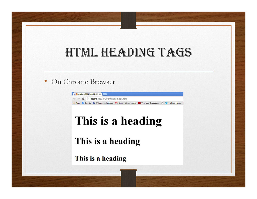 html hEaDINg tagS • On Chrome Browser