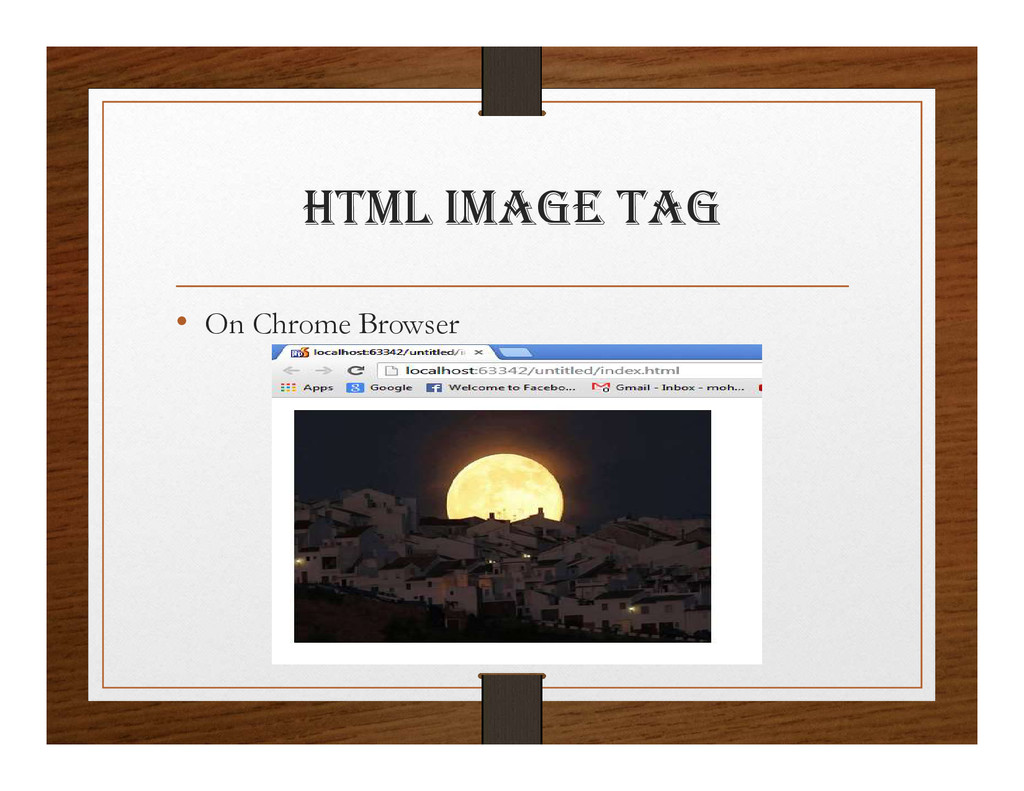 html ImagE tag • On Chrome Browser