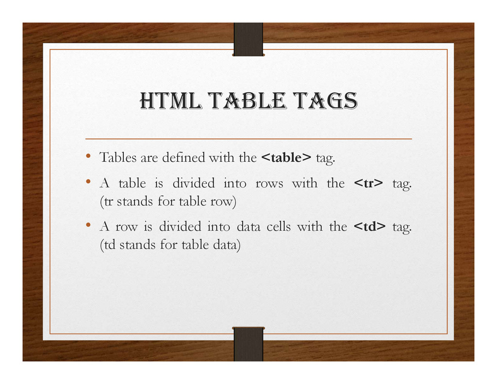html taBlE tagS • Tables are defined with the <...