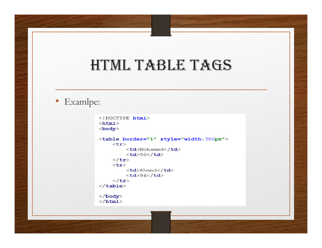html taBlE tagS • Examlpe: